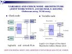 variable and check node architecture joint work with n jayakumar s khatri globecom 2004 tcas 2005