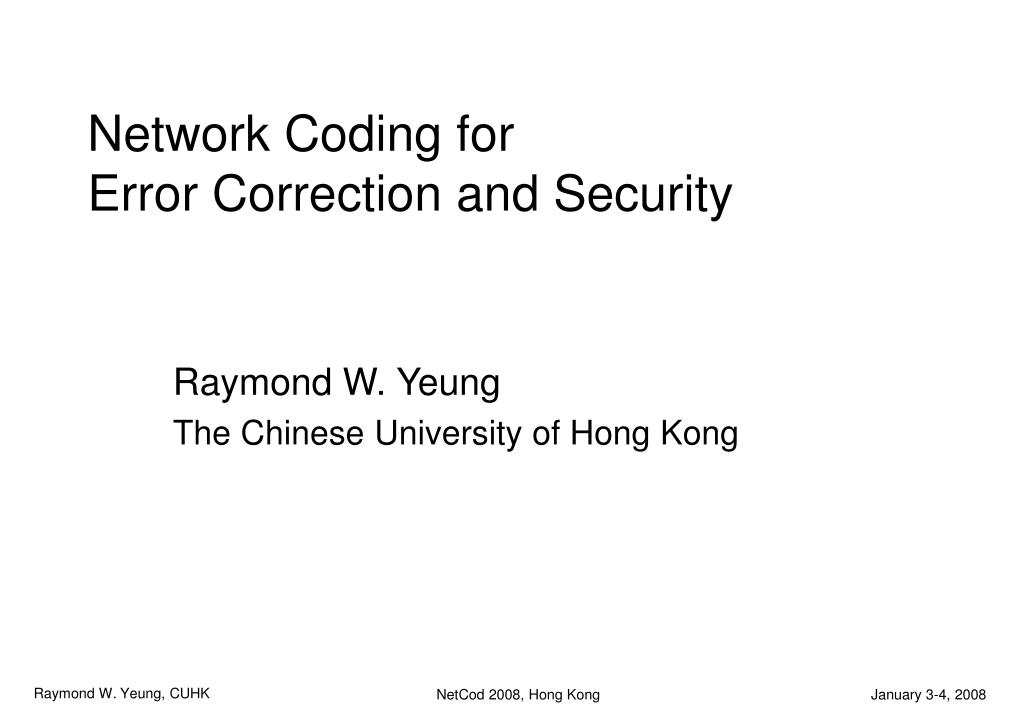 network coding for error correction and security l.