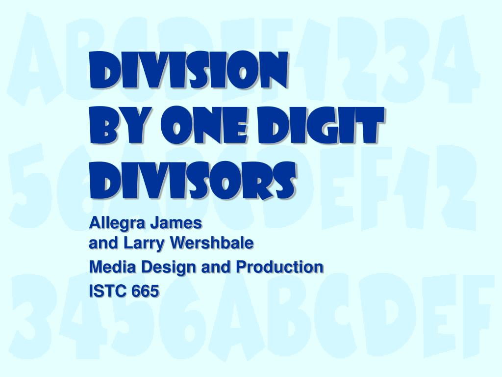 division by one digit divisors l.