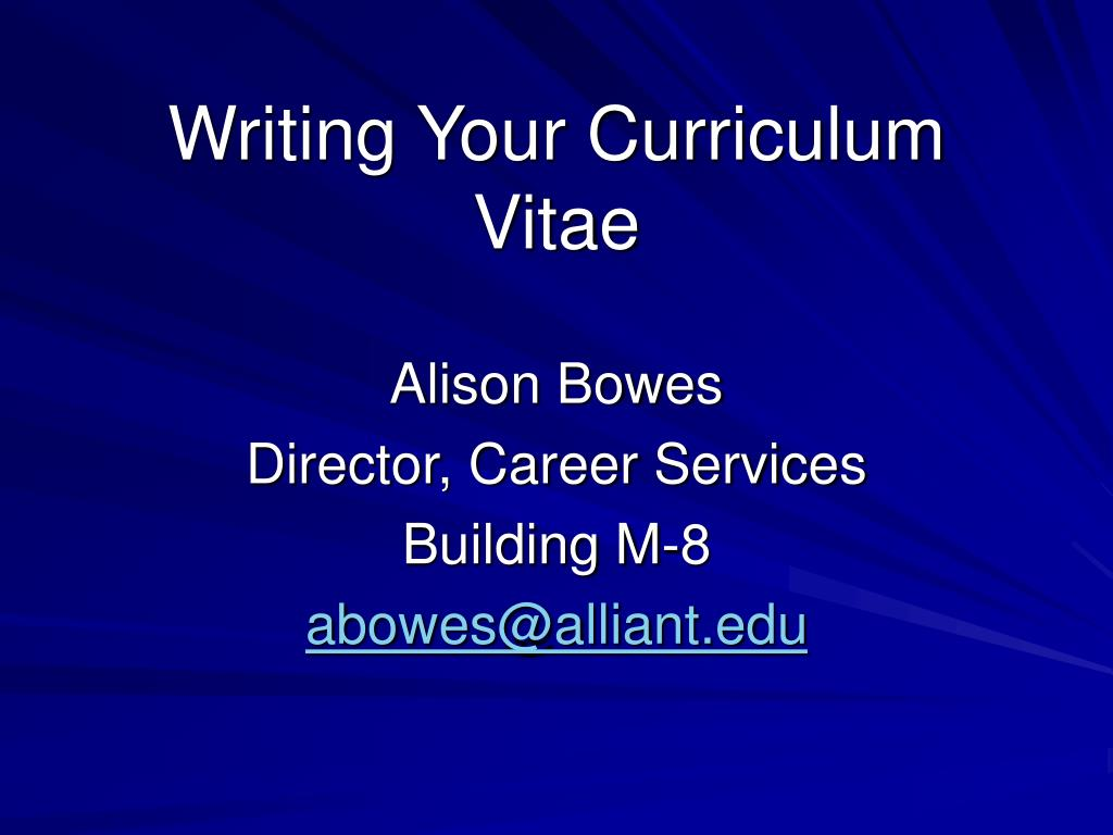 writing your curriculum vitae l.