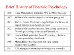 brief history of forensic psychology