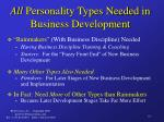 all personality types needed in business development