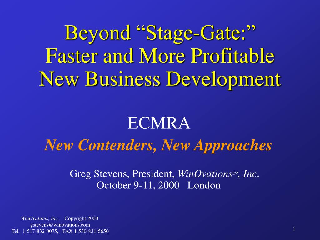 beyond stage gate faster and more profitable new business development l.