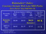 rainmaker sm index correlates strongly with later nbd profits even better than mbti ci