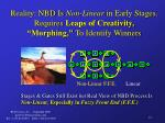 reality nbd is non linear in early stages requires leaps of creativity morphing to identify winners