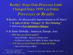 reality stage gate processes little changed since 1950 s in either processes or results