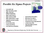 possible six sigma projects