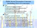 public sector governance concerns including cth a g s concerns