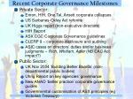 recent corporate governance milestones