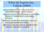 what the experts say leblanc 2004