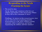 responding to the needs framing the issues