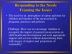 responding to the needs framing the issues13