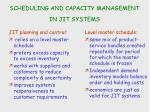 scheduling and capacity management in jit systems