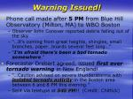 warning issued