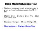basic model saturation flow