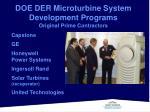 doe der microturbine system development programs original prime contractors