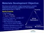 materials development objective