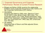 1 corporate governance and corporate performance review of current finance research