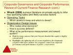 corporate governance and corporate performance review of current finance research cont