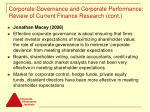 corporate governance and corporate performance review of current finance research cont7