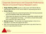 corporate governance and corporate performance review of current finance research cont8