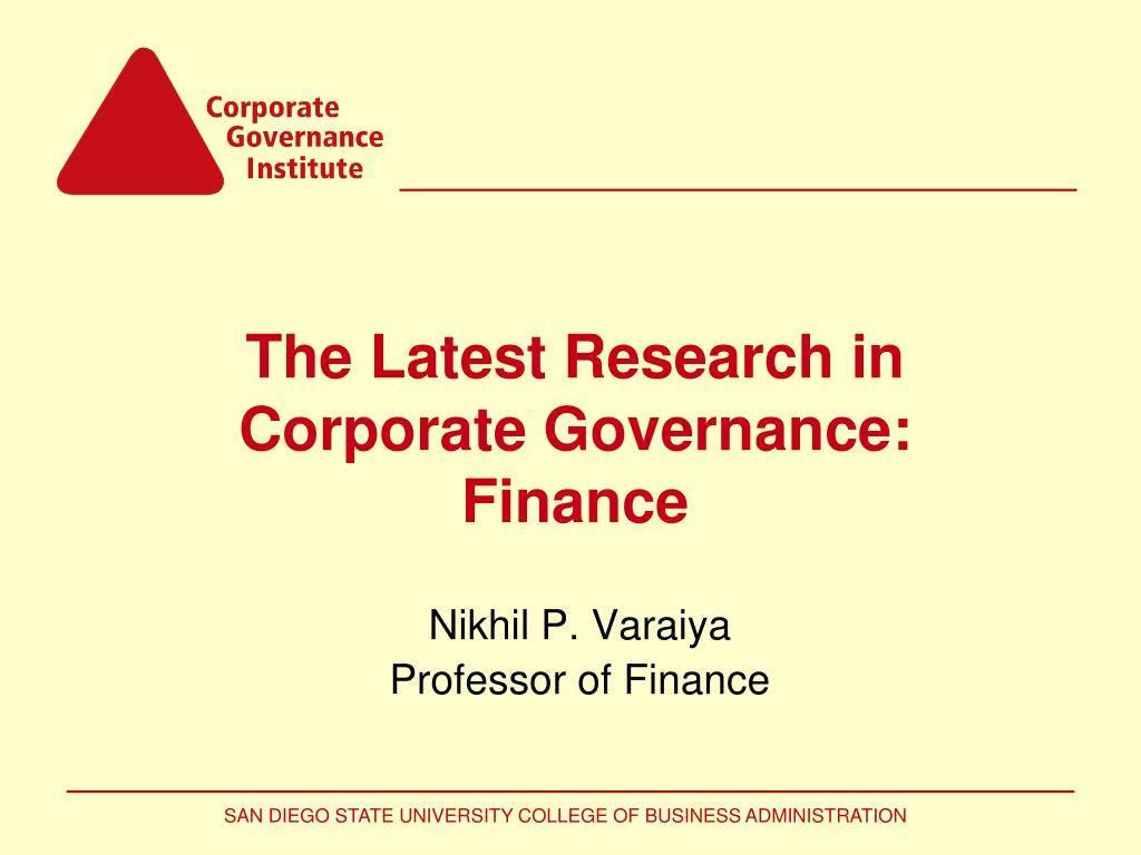 the latest research in corporate governance finance l.
