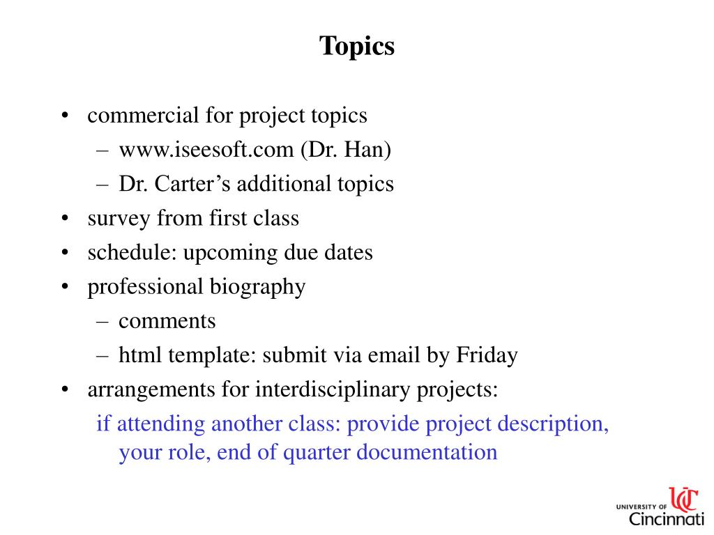 List of powerpoint topics.