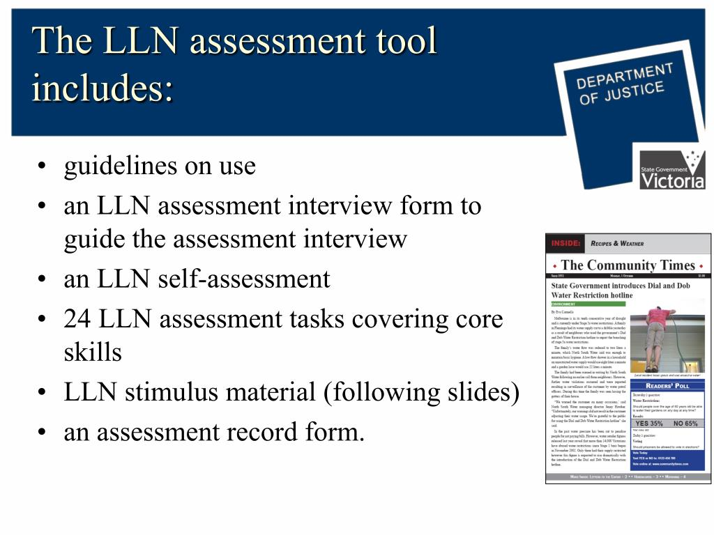 The LLN assessment tool includes: