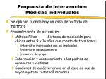 propuesta de intervenci n medidas individuales