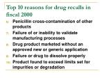 top 10 reasons for drug recalls in fiscal 200043