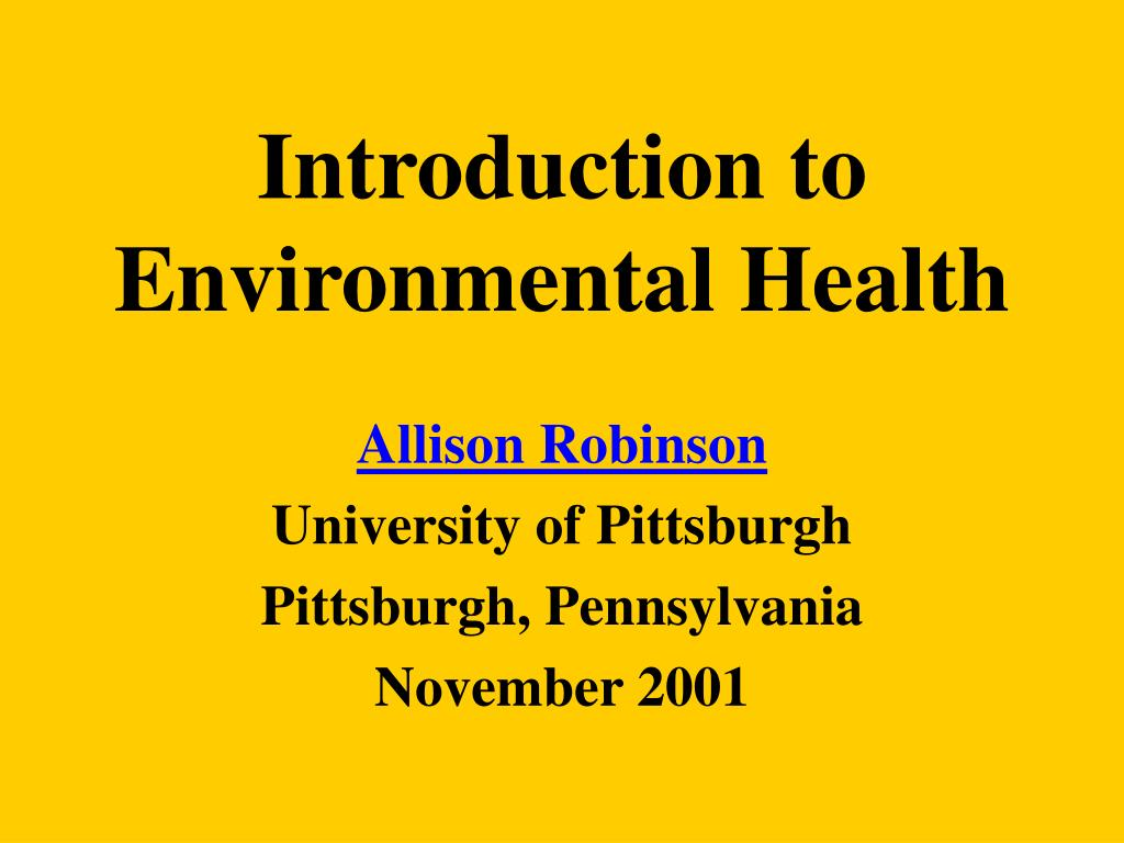 introduction to environmental health l.