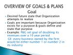 overview of goals plans