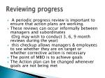 reviewing progress