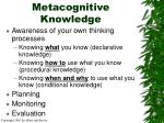 metacognitive knowledge