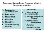 programas nacionales de formaci n iniciales propuesta en ajuste