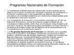 programas nacionales de formaci n