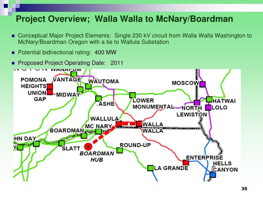 Project Overview;  Walla Walla to McNary/Boardman