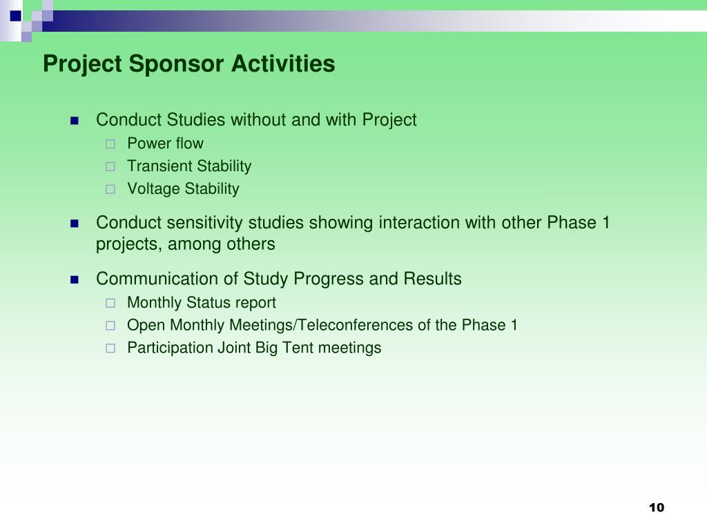 Project Sponsor Activities