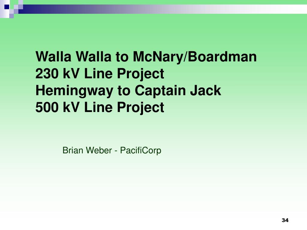 Walla Walla to McNary/Boardman  230 kV Line Project