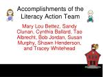 accomplishments of the literacy action team