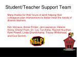 student teacher support team