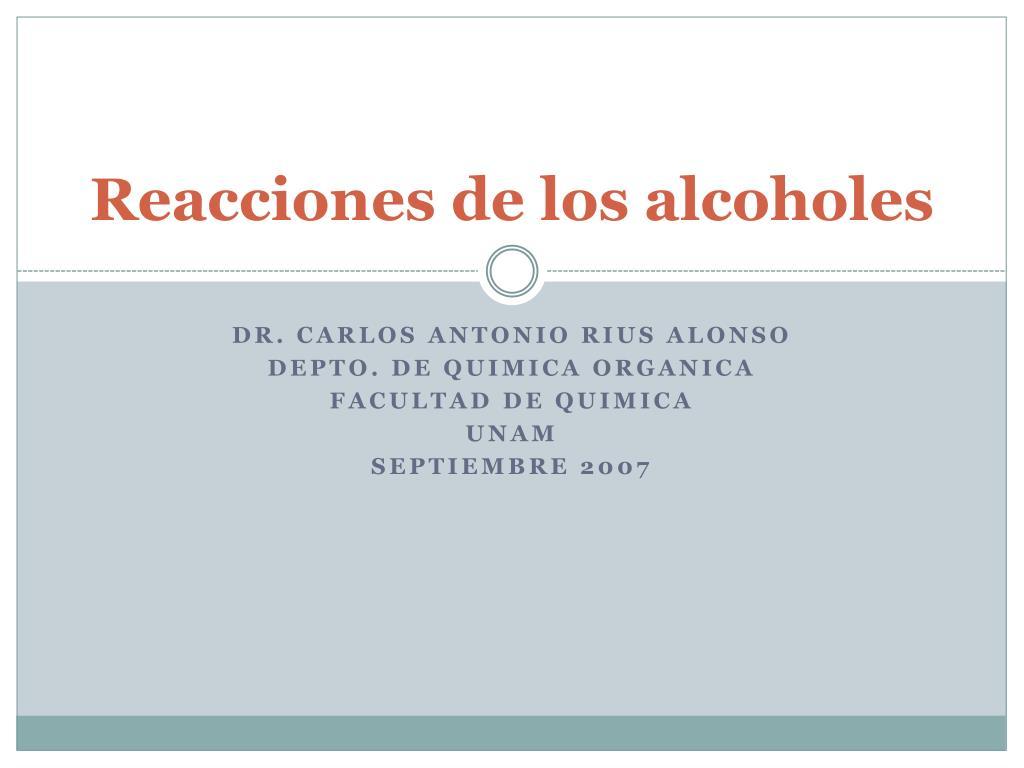 reacciones de los alcoholes l.