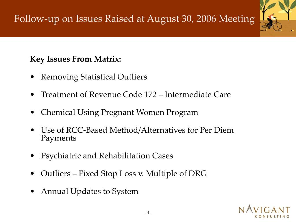 Follow-up on Issues Raised at August 30, 2006 Meeting