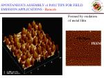 spontaneous assembly of pdo2 tips for field emission applications ramesh