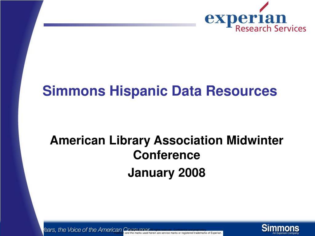simmons hispanic data resources l.