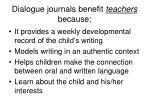 dialogue journals benefit teachers because