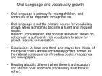 oral language and vocabulary growth