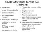 sdaie strategies for the esl classroom