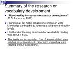 summary of the research on vocabulary development