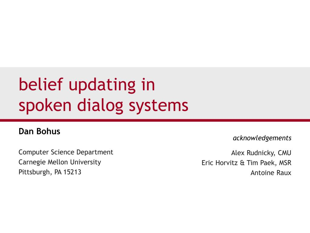 belief updating in spoken dialog systems l.